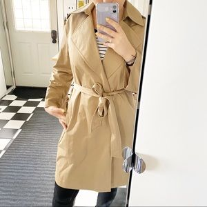 ALL SAINTS  tan trench boat bow sleeves sz S